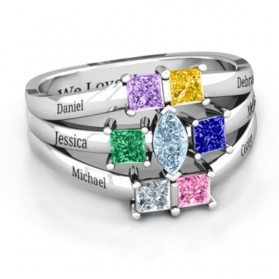 Sterling Silver Charlotte Centre Marquise and Princess Ring - Crafted By Birthstone Design™