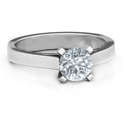 Sterling Silver Classic Solitaire Ring - Crafted By Birthstone Design™