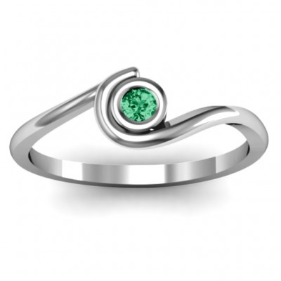 Sterling Silver Curved Bezel Ring - Crafted By Birthstone Design™
