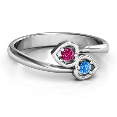 Sterling Silver Double Heart Bypass Ring - Crafted By Birthstone Design™