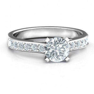 Sterling Silver Elegant Duchess Ring with Shoulder Accents - Crafted By Birthstone Design™