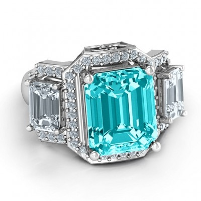 Sterling Silver Emerald Cut Trinity Ring with Triple Halo - Crafted By Birthstone Design™