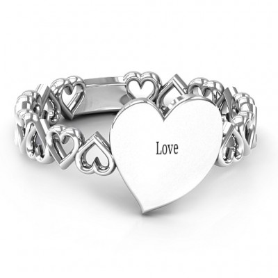 Sterling Silver Engravable Cut Out Hearts Ring - Crafted By Birthstone Design™
