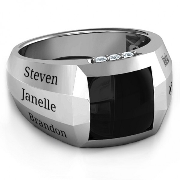 Sterling Silver Engravable Statement 6-Stone Men's Ring  - Crafted By Birthstone Design™