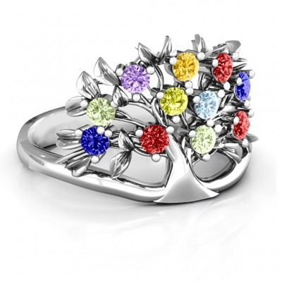 Sterling Silver Family Tree Ring - Crafted By Birthstone Design™