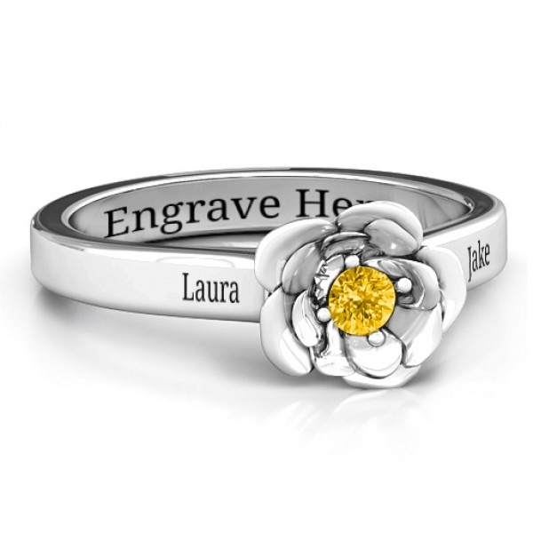 Sterling Silver Flourish Rose Ring - Crafted By Birthstone Design™