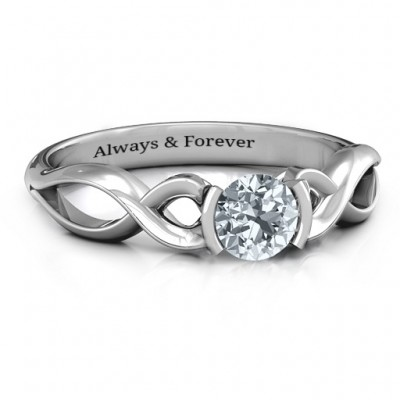 Sterling Silver Half Bezel Infinity Ring - Crafted By Birthstone Design™