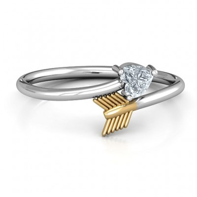 Sterling Silver Heart & Arrow Ring - Crafted By Birthstone Design™
