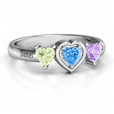 Sterling Silver Heart Stone with Twin Heart Accents Ring  - Crafted By Birthstone Design™