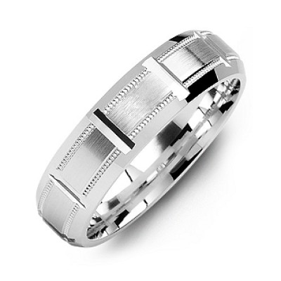 Sterling Silver Horizontal-Cut Men's Ring with Beveled Edge - Crafted By Birthstone Design™
