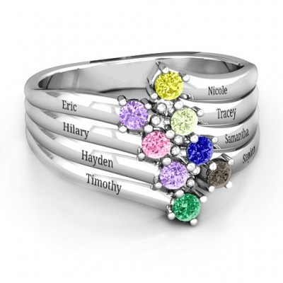 Sterling Silver Hydra Multi-Wave Ring - Crafted By Birthstone Design™