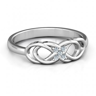 Sterling Silver Infinity Knot Ring with Accents - Crafted By Birthstone Design™
