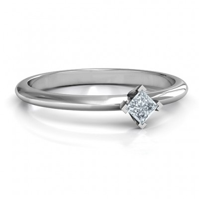 Sterling Silver L-Shaped Princess Ring - Crafted By Birthstone Design™