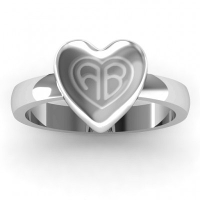 Sterling Silver Large Engraved Monogram Heart Ring - Crafted By Birthstone Design™