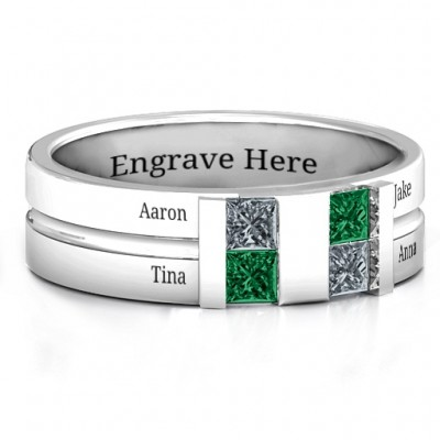 Sterling Silver Leonidas Grooved Men's Ring - Crafted By Birthstone Design™