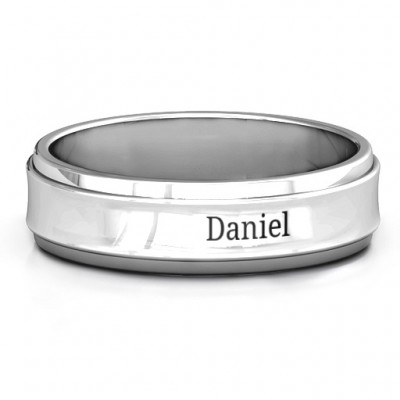 Sterling Silver Menelaus Bevelled Concave Men's Ring - Crafted By Birthstone Design™