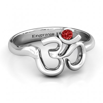 Sterling Silver Om - Sound of Universe Ring with Round Stone  - Crafted By Birthstone Design™