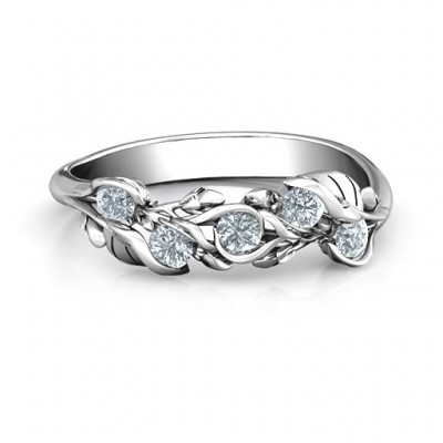 Sterling Silver Organic Leaf Five Stone Family Ring  - Crafted By Birthstone Design™