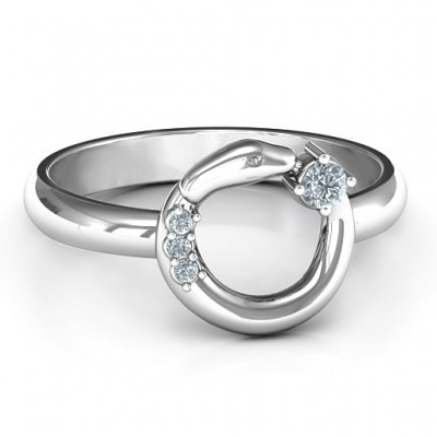 Sterling Silver Ouroboros Snake Ring - Crafted By Birthstone Design™