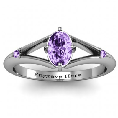 Sterling Silver Oval Split Shank Accent Ring - Crafted By Birthstone Design™