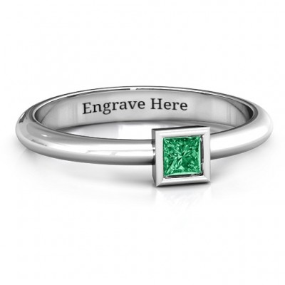 Sterling Silver Ovation Classic Princess Setting Ring - Crafted By Birthstone Design™