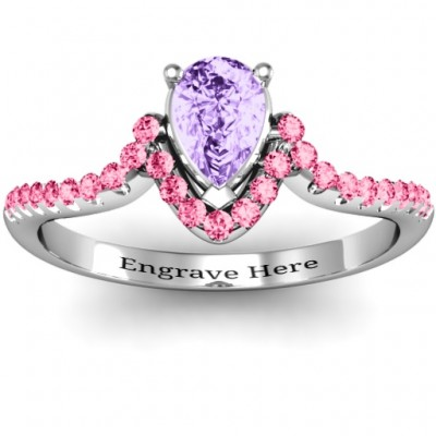 Sterling Silver Pear in Accent Groove Ring - Crafted By Birthstone Design™