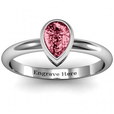 Sterling Silver Pear with Raised Bezel Set Ring - Crafted By Birthstone Design™