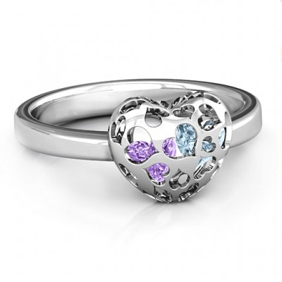 Sterling Silver Petite Caged Hearts Ring with 1-3 Stones  - Crafted By Birthstone Design™