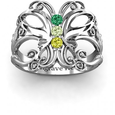 Sterling Silver Precious Butterfly Ring - Crafted By Birthstone Design™