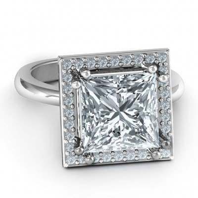 Sterling Silver Princess Cut Cocktail Ring with Halo - Crafted By Birthstone Design™