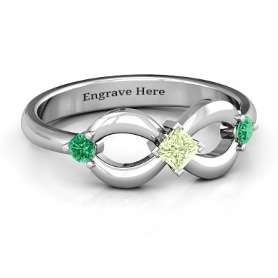 Sterling Silver Princess Infinity Ring - Crafted By Birthstone Design™