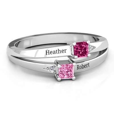 Sterling Silver Princess Stone and Accent Ring  - Crafted By Birthstone Design™