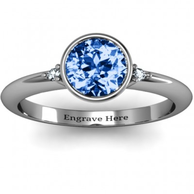 Sterling Silver Round Bezel Solitaire with Twin Accents Ring - Crafted By Birthstone Design™