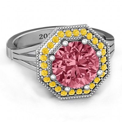 Sterling Silver Round Stone and Octagon Halo Ring  - Crafted By Birthstone Design™