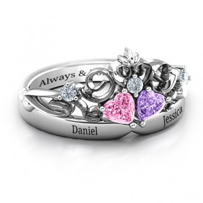 Sterling Silver Royal Romance Double Heart Tiara Ring with Engravings - Crafted By Birthstone Design™