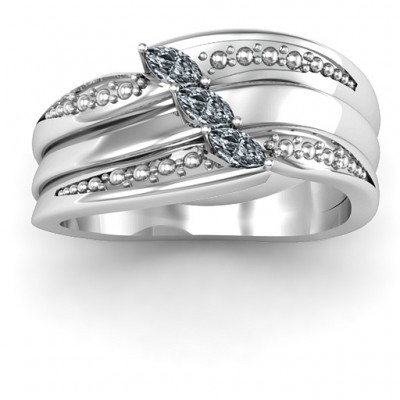 Sterling Silver Shimmering Triple-Marquise Ring - Crafted By Birthstone Design™