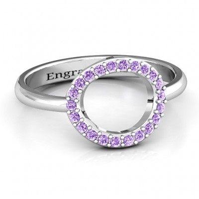 Sterling Silver Single Accented Circle Karma Ring - Crafted By Birthstone Design™
