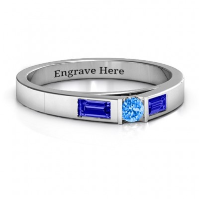 Sterling Silver Solitaire Bridge Ring with Baguette Accents - Crafted By Birthstone Design™