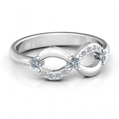 Sterling Silver Three Stone Infinity Ring with Accents  - Crafted By Birthstone Design™