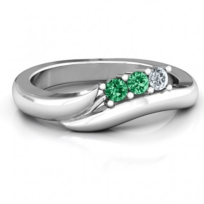 Sterling Silver Three Stone Single Bypass Ring  - Crafted By Birthstone Design™