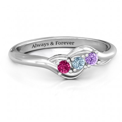 Sterling Silver Three Stone Wave Ring  - Crafted By Birthstone Design™