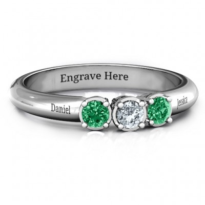 Sterling Silver Triple Round Stone Ring  - Crafted By Birthstone Design™