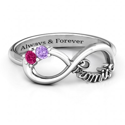 Sterling Silver Two Stone Promise Infinity Ring  - Crafted By Birthstone Design™