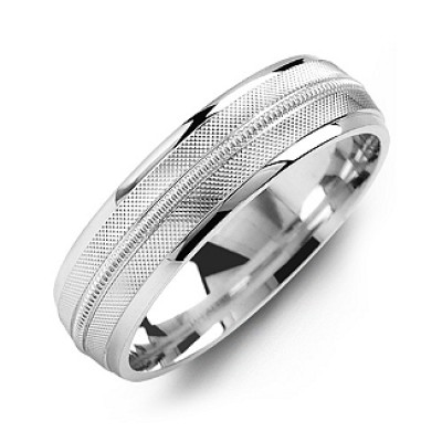 Textured Men's Ring with Centre Milgrain Detail - Crafted By Birthstone Design™
