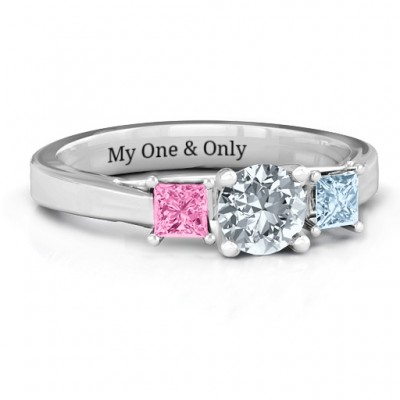 Three Stone Eternity with Princess Accents Ring  - Crafted By Birthstone Design™