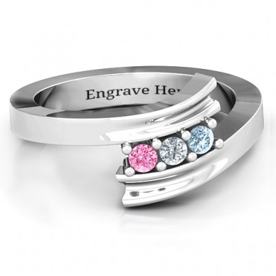 Three Stone Ridged Bypass Ring  - Crafted By Birthstone Design™