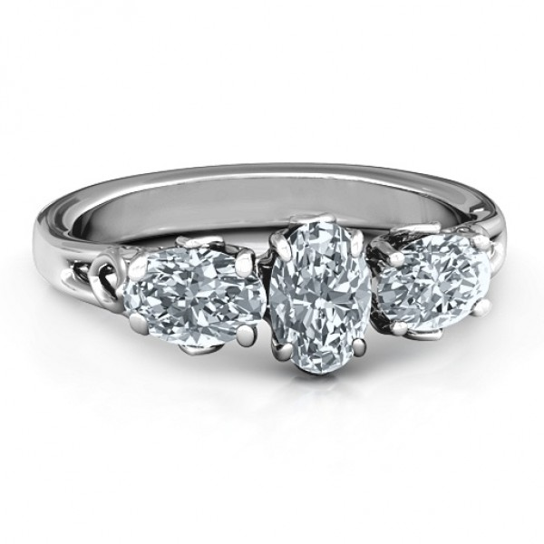 Triple Oval Stone Engagement Ring  - Crafted By Birthstone Design™