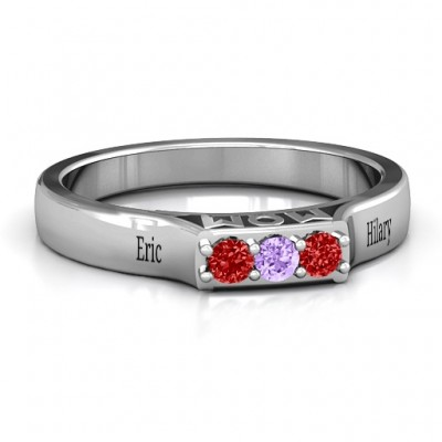 Triple Round Stone MOM Ring  - Crafted By Birthstone Design™