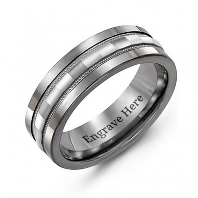 Tungsten Men's Tungsten Grooved Centre Band Ring - Crafted By Birthstone Design™