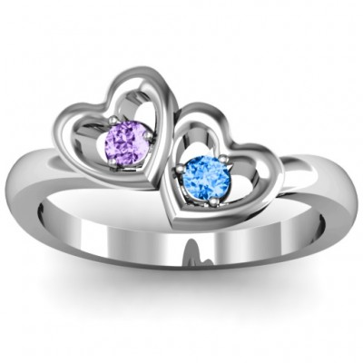 Twin Hearts Ring - Crafted By Birthstone Design™